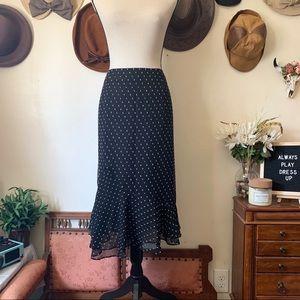 Black And White Patterned Midi Skirt